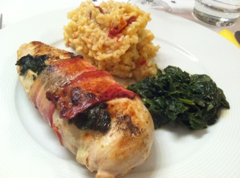 Pouletbrust mit Spinat+Risotto
